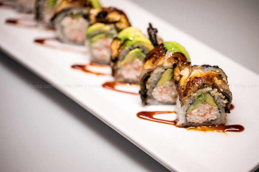 Avocado Eel Sushi Roll Photography