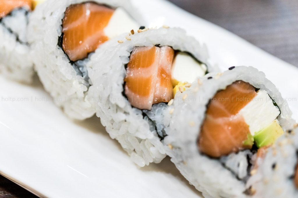 Salmon Cream Cheese Sushi Roll Photography