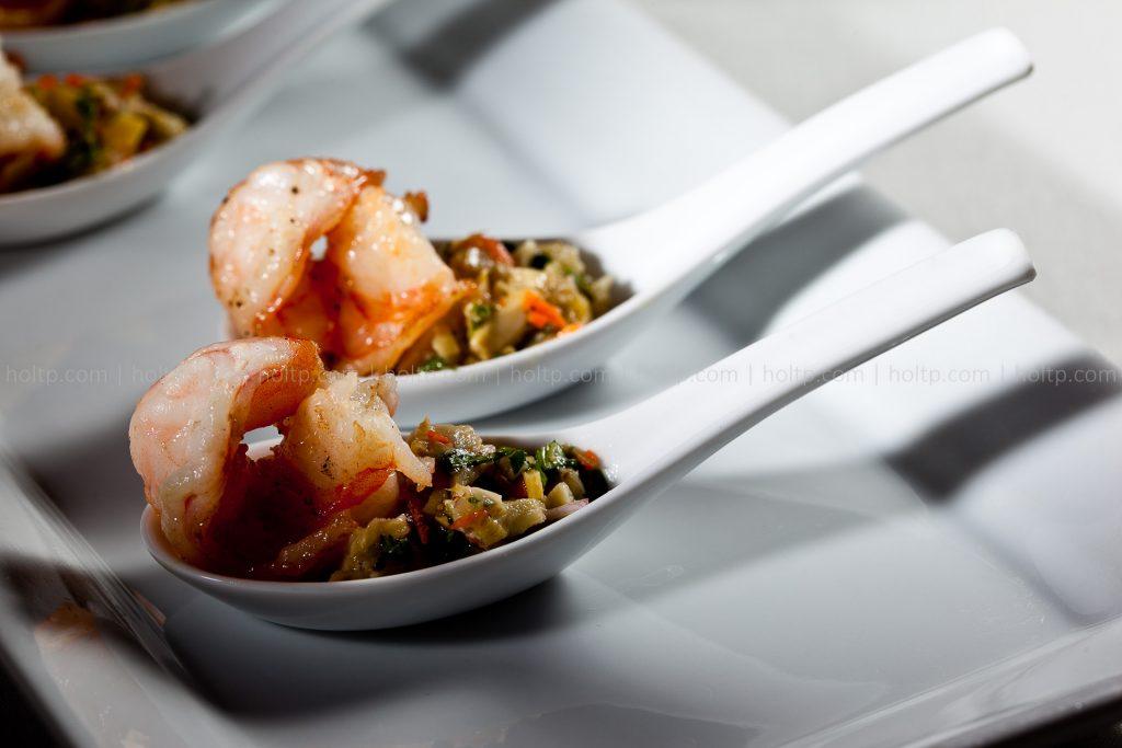 Shrimp and Artichoke in Spoon Appetizer