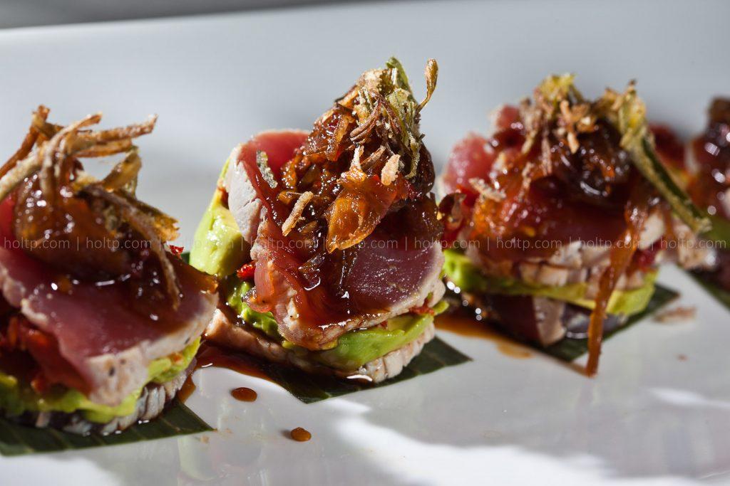 Tuna Napoleon with Fried Onions