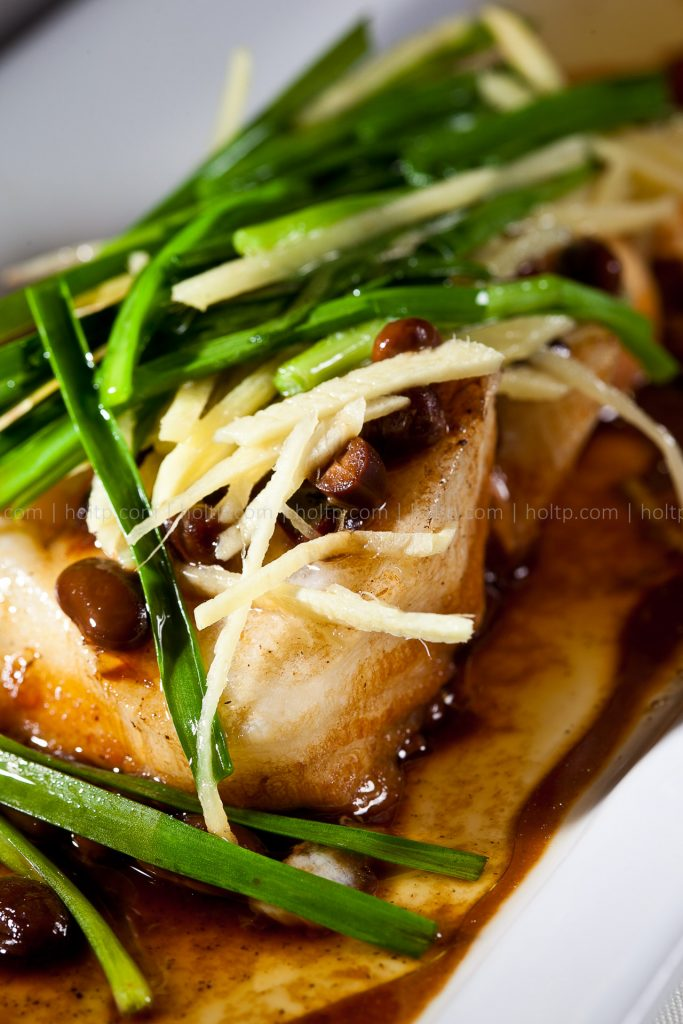 Steamed Chilean Sea Bass with Ginger and Green Onion Black Bean