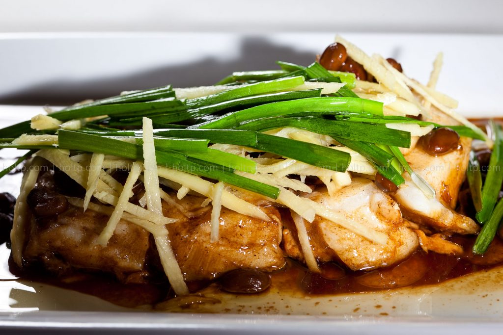 Steamed Chilean Sea Bass with Ginger and Green Onion