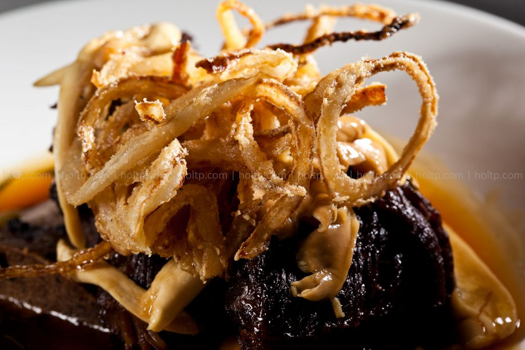 Beef Short Rib with Fried Onion Photography Closeup