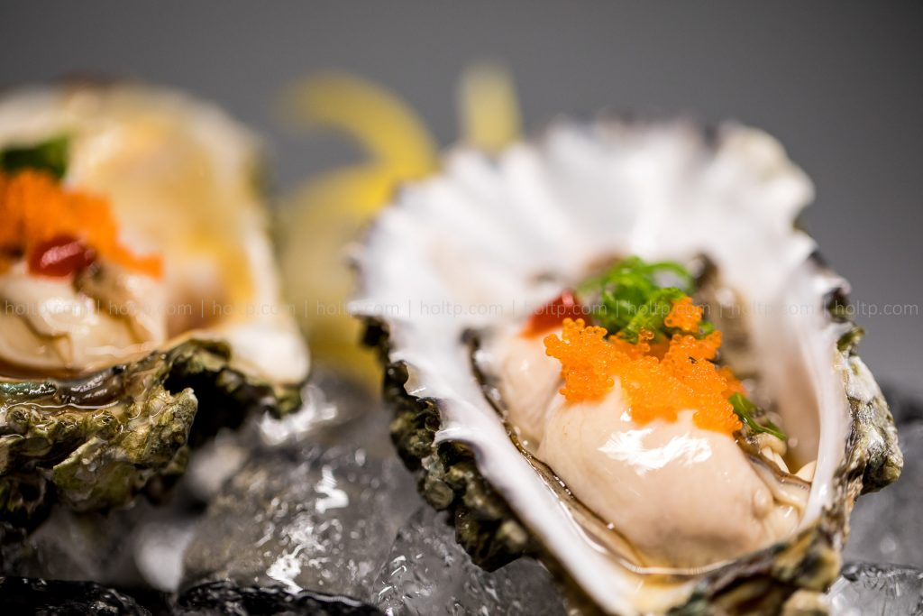 Oyster with Masago Appetizer Closeup