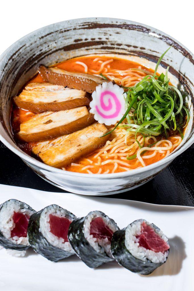 Spicy Ramen Noodles with Pork Char sui, tuna roll